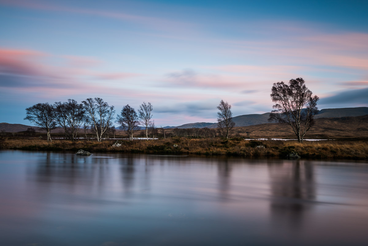 Baumreihe am Loch Bà